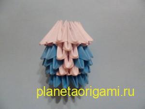 Оригами снегурочка из модулей, воротник шубки