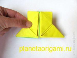 Оригами снегурочка из модулей, рукава шубки