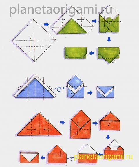 Схема сборки оригами конверта