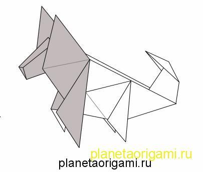 Оригами схема сборки маска собаки.
