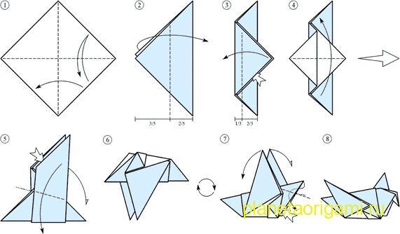 схема оригами голубь