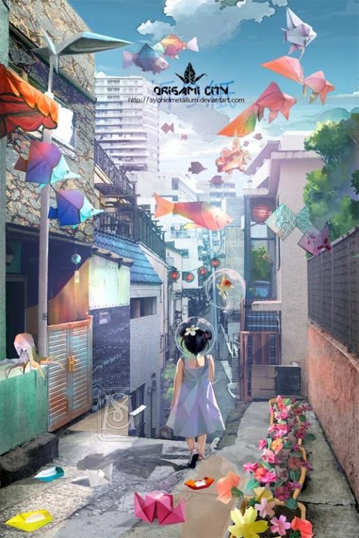 Маленькая девочка идет по сказочной улице оригами