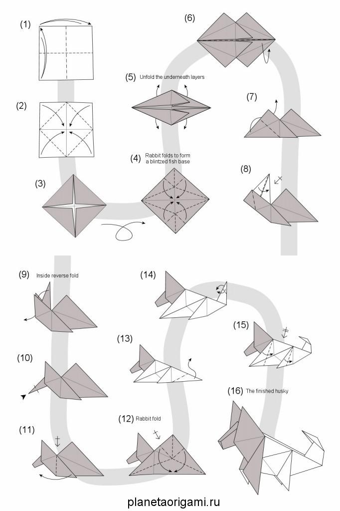 Схема сборки оригами собаки