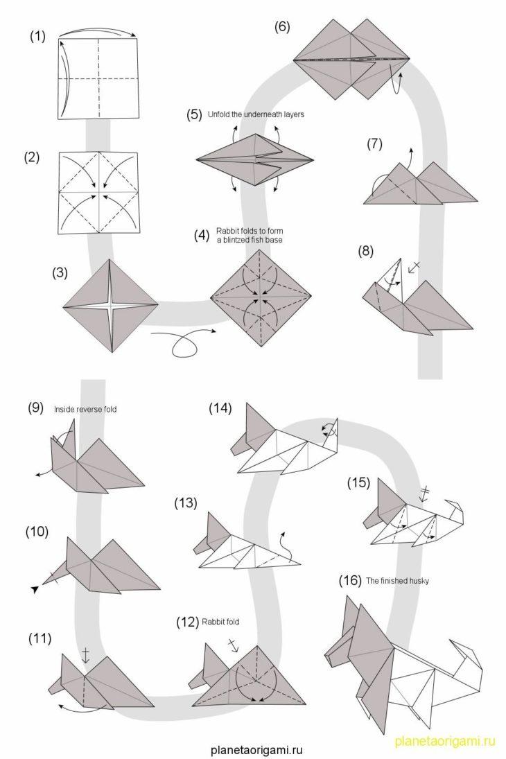 Оригами из бумаги собака схема 405