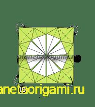 Шаг 10 сборки оригами колеса