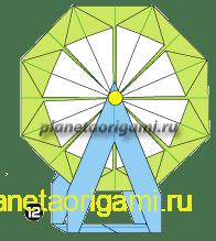 Шаг 12 сборки оригами колеса