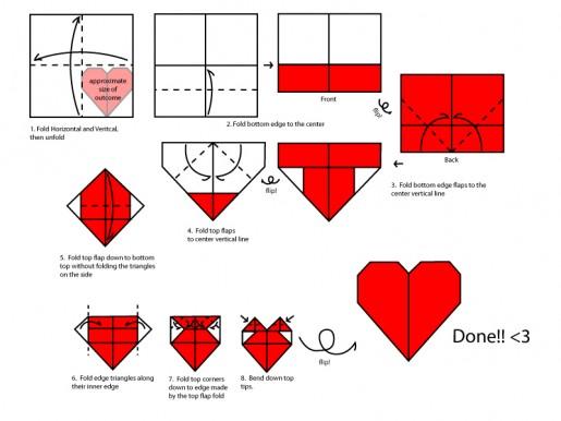Схема сборки оригами сердца