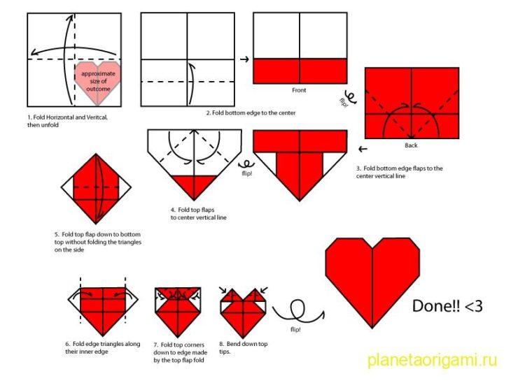 Схема как сделать сердечко из бумаги.