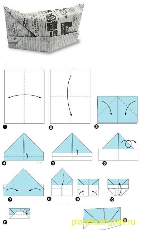 Схема сборки шапки оригами