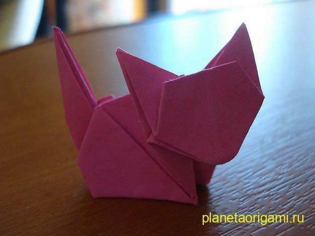 Оригами котёнок по схеме Джо Накашима (Jo Nakashima)