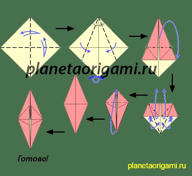 Оригами рыба схема