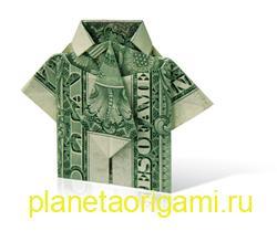 Оригами рубашка из денег с галстуком