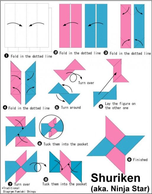 Секретное оружие ниндзя: как сделать сюрикен из бумаги.