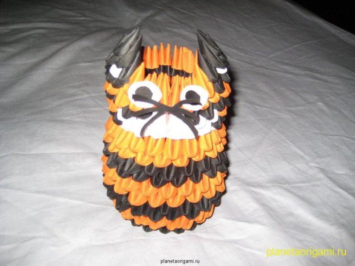 Модульное оригами схема тигр