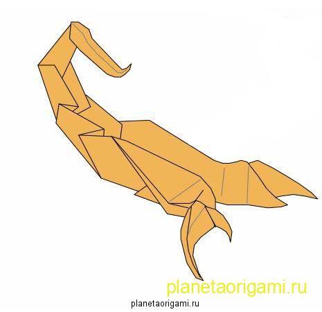 Несложный скорпион оригами
