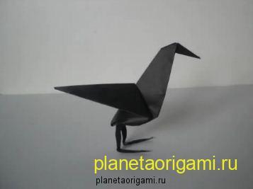 оригами ворон