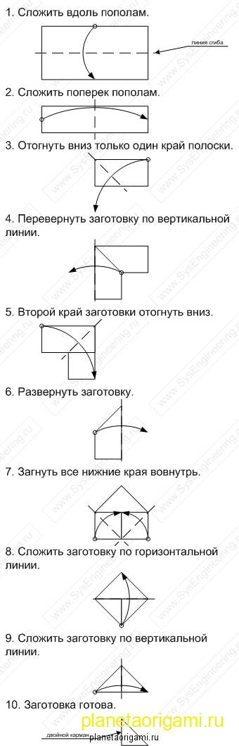 Схема сборки треугольных модулей оригами.