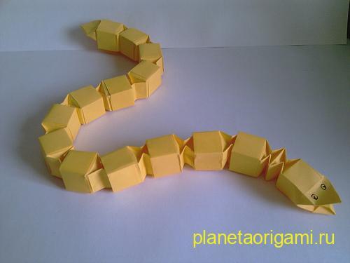 оригами из модулей змея