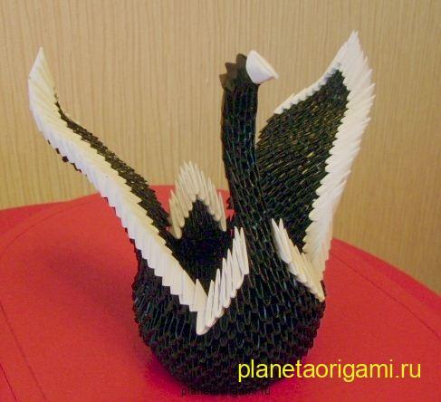 модульное оригами сборка лебедя