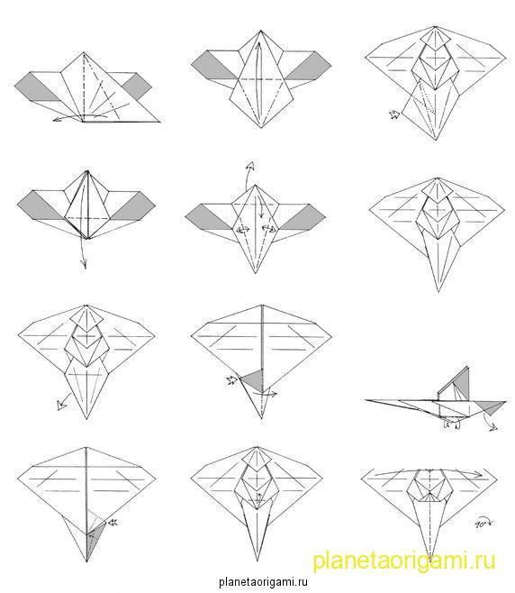 Оригами из бумаги дракон схема