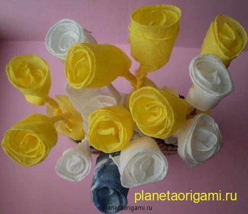 как сделать розу из салфетки