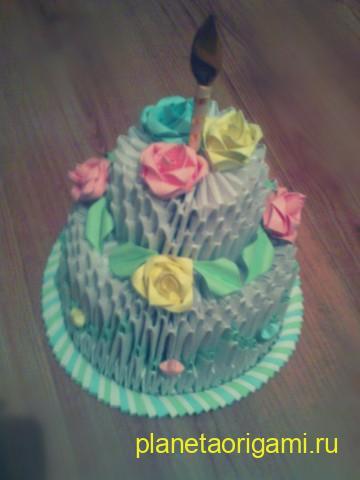 Модульное оригами торт схема