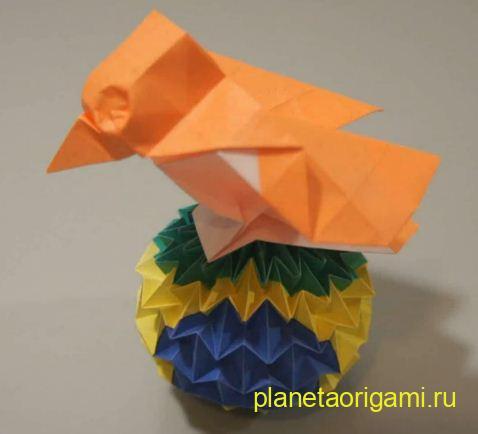 Объемное оригами воробей