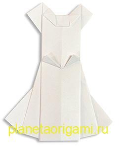 Свадебное оригами платье
