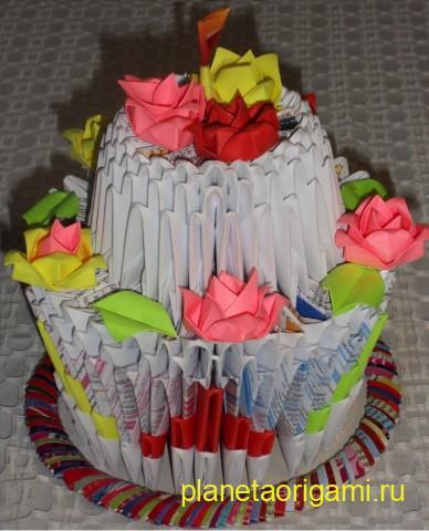 Модульное оригами торт схема сборки