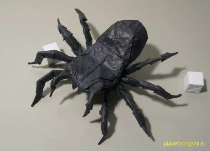оригами жук-олень схема