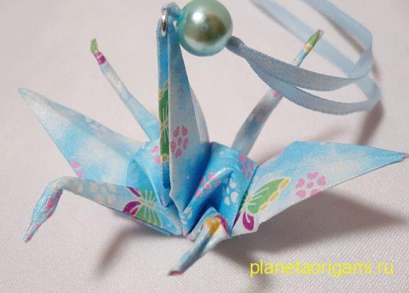 Двойной оригами журавлик