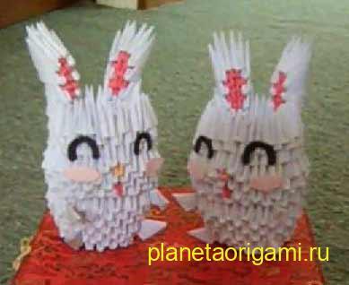 модульное оригами заяц