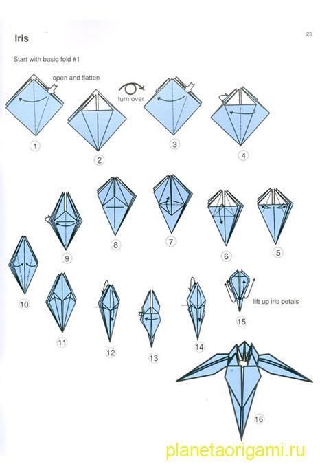 Оригами цветок ириса видео схема от мастера Tadashi Mori Планета.