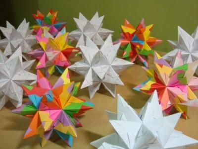 оригами кусудама схема звезды