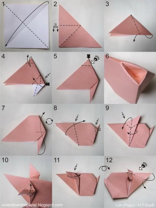 Оригами свинья схема сборки.