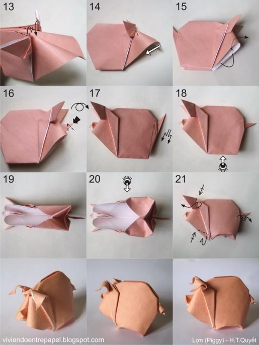 оригами свинья схема 2