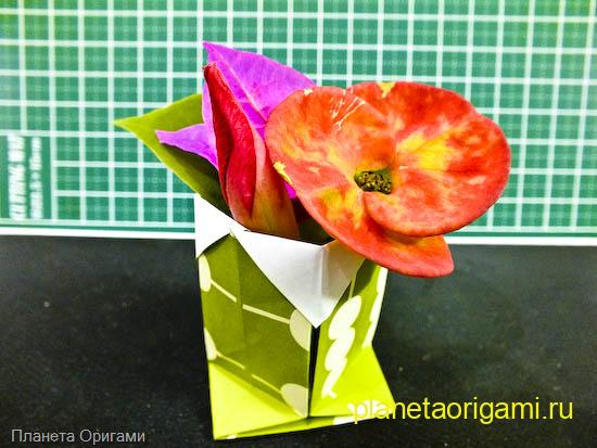 Вазочка оригами