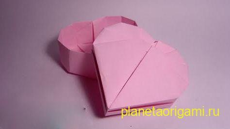 Сердечки-валентинки - оригами - простая схема изготовления.