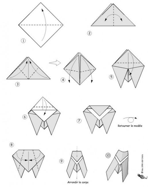оригами муха схема