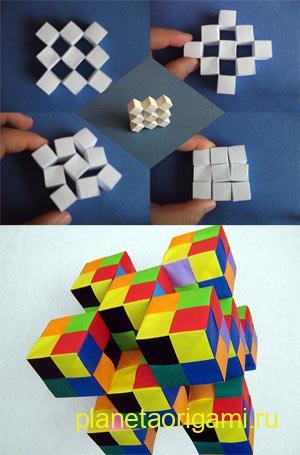 Кубик оригами из бумаги.  Подробная схема и видео.