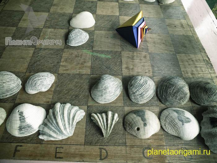 оригами ракушка схема