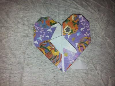 бумажное сердечко с подставкой