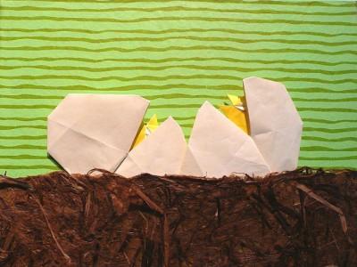 Композиция из яиц оригами