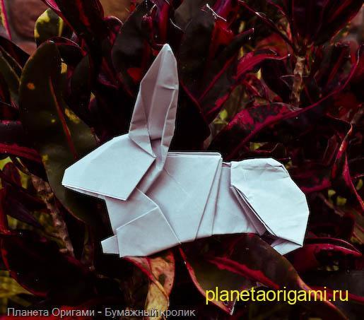Ушастый кролик из бумаги