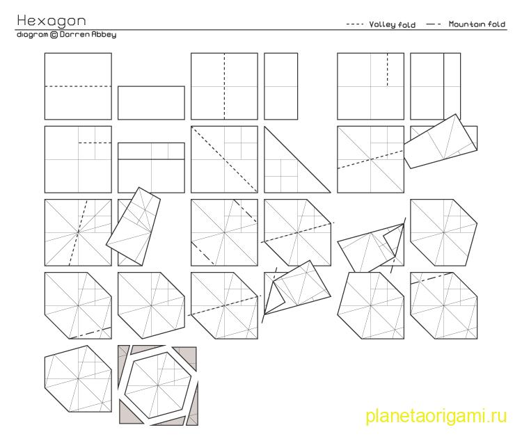 Гексагон из бумаги схема