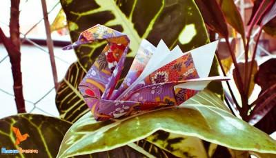 оригами лебедь по схеме Роберта Лэнга
