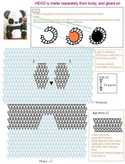 схемы поделок из треугольных модулей.