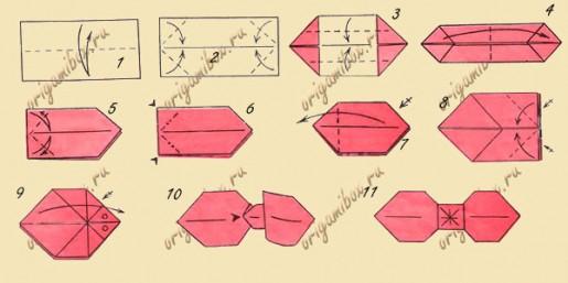 схема сборки бантика оригами