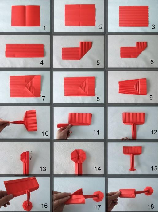 схема сборки льющейся краски из бумаги