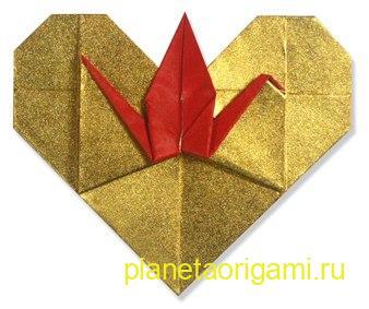 оригами сердечко с журавликом